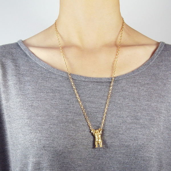 Handcuffed Bear Necklace Gold 60cm on Model