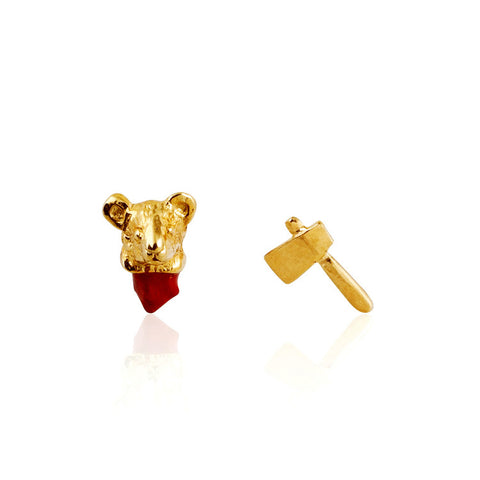 Head Off Mouse and Axe Earrings Gold Product Shot