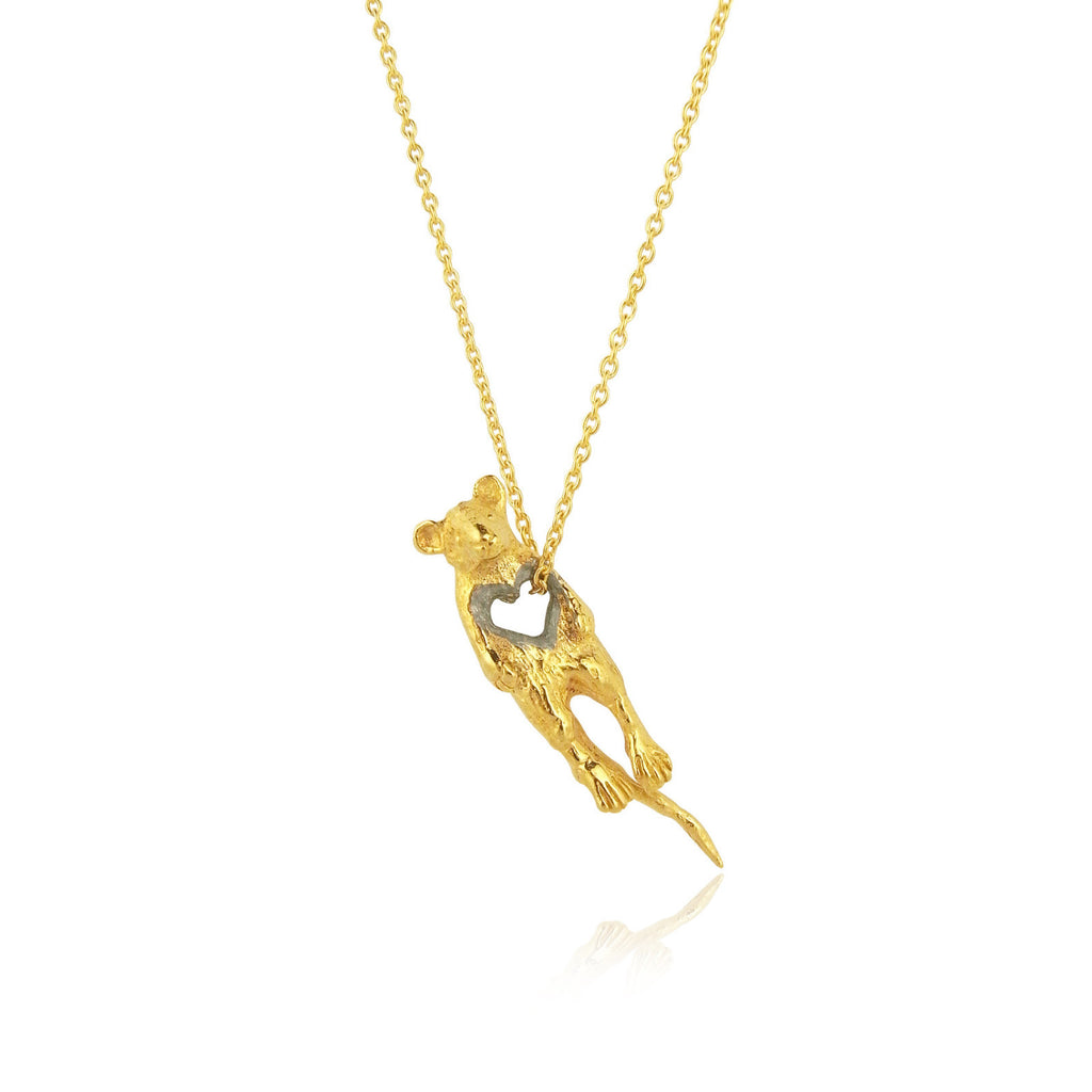 stolen heart mouse necklace yellow gold plated silver