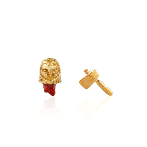 Head Off Owl and Axe Earrings Gold Product Shot