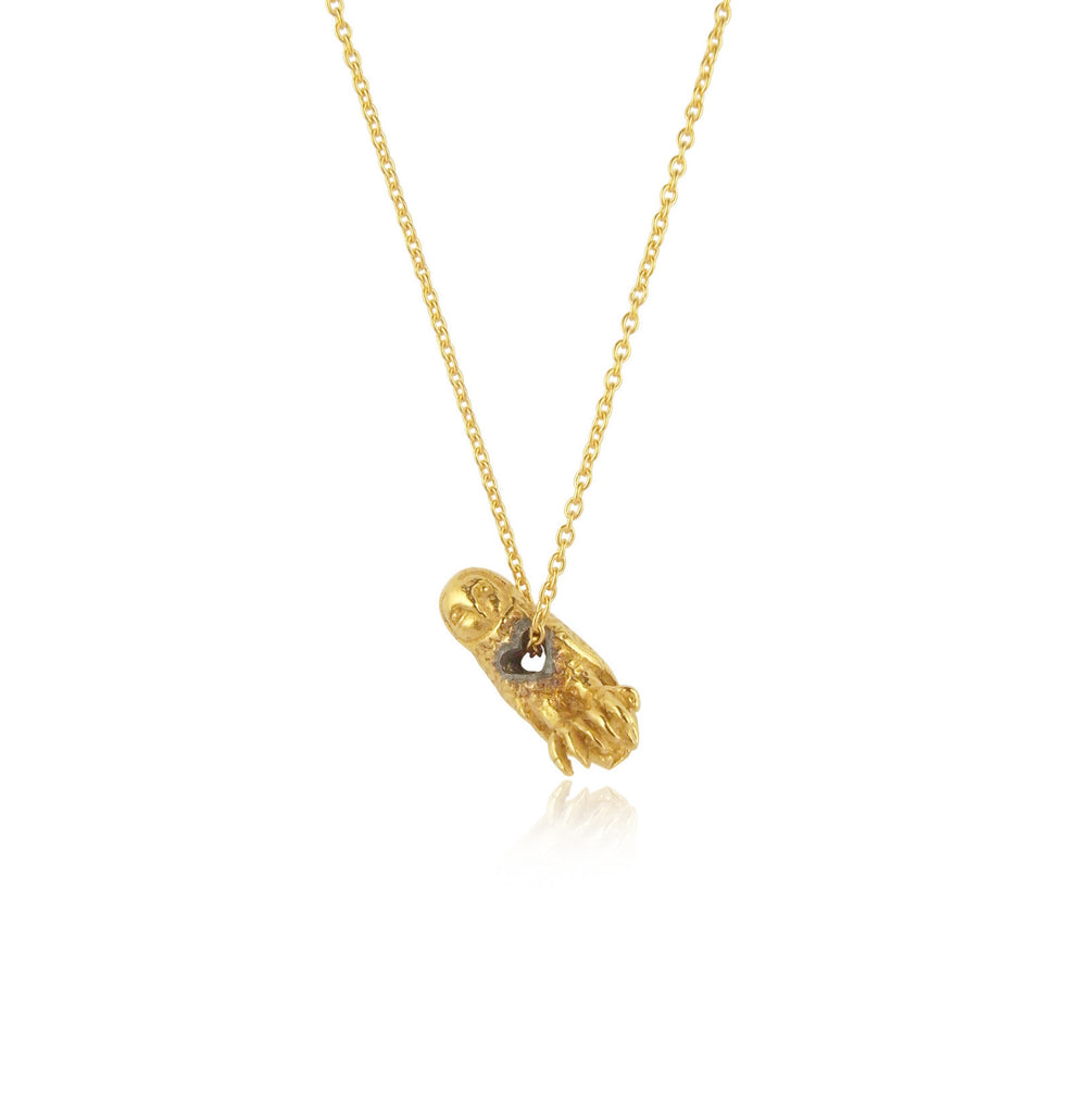 stolen heart owl necklace yellow gold plated silver