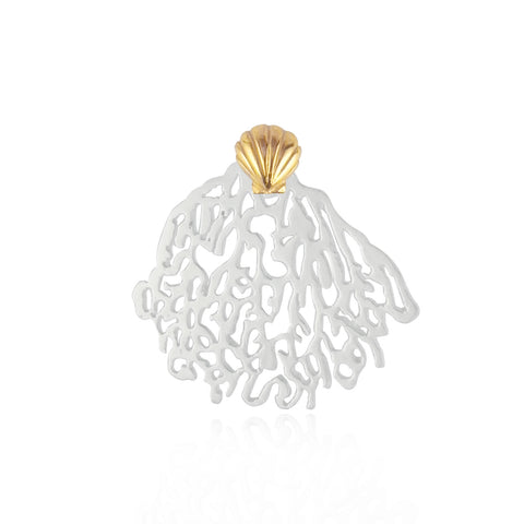 Silver Coral & Gold Shell Single Stud Earring