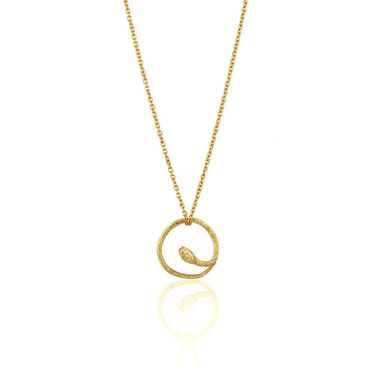 Round Snake Necklace Gold Product Shot Main