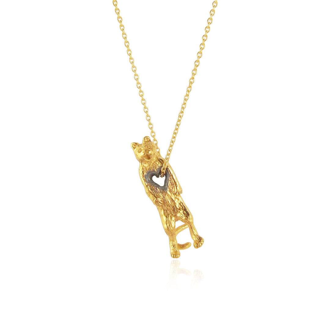 stolen heart cat necklace yellow gold plated silver