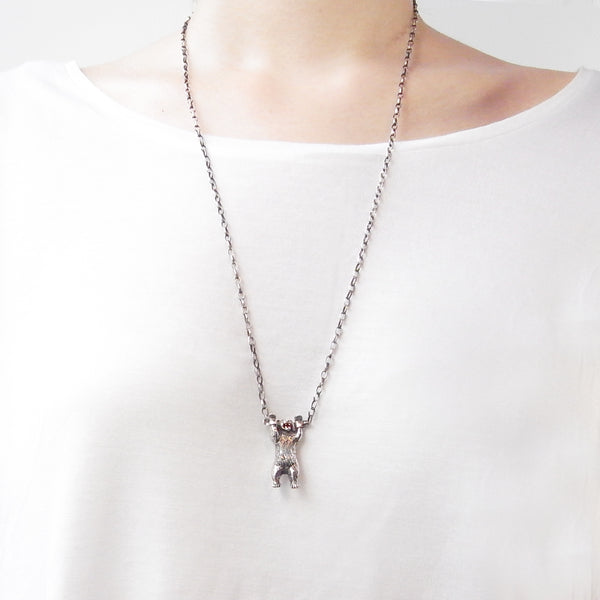 Handcuffed Bear Necklace Silver