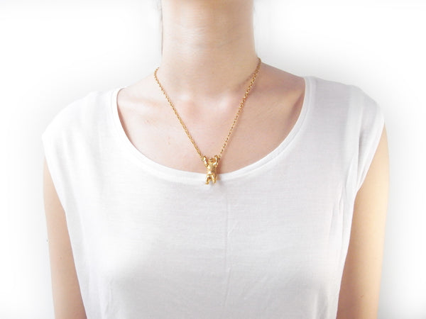 Handcuffed Bear Necklace Gold 48cm on Model