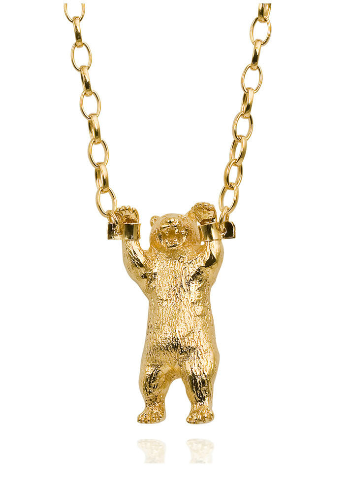 Handcuffed Bear Necklace Gold Product Shot Main