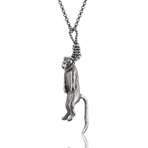 Hanging Cat Pendant Silver Product Shot Sub