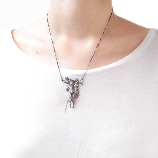 Hanging Mouse with Twig Necklace Silver on Model