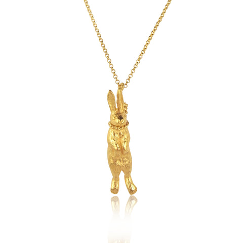 Hanging rabbit necklace yellow gold silver