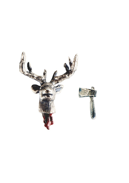 Head Off Stag And Axe Earrings Silver Product Shot