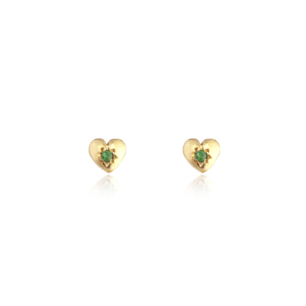 Tiny Heart Stud Earrings Gold with Emerald