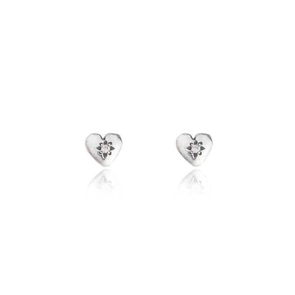 Tiny Heart Stud Earrings Silver with Diamond