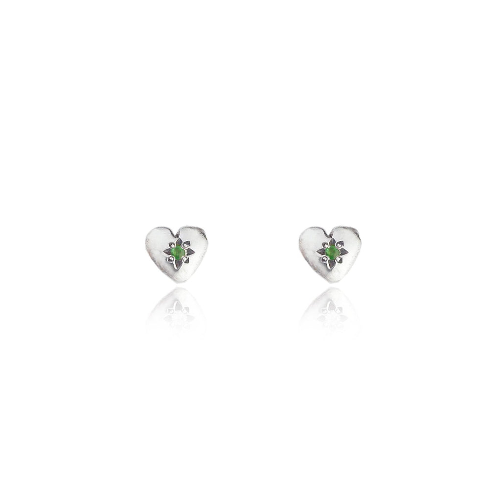 Tiny Heart Stud Earrings Silver with Emerald