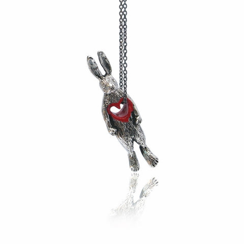 Stolen Heart Bunny Necklace Silver Product Shot Main