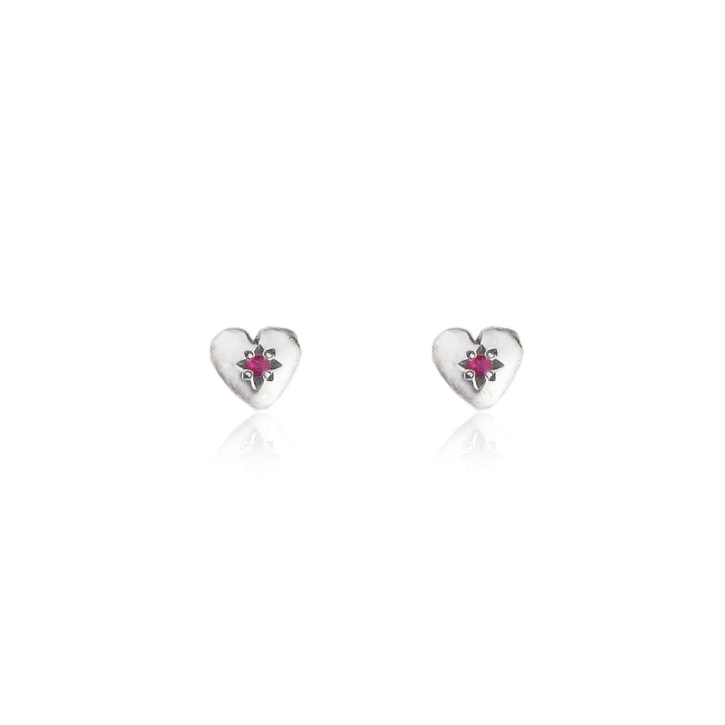 Tiny Heart Stud Earrings Silver with Ruby