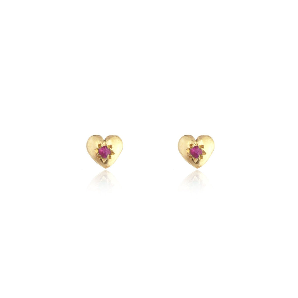 Tiny Heart Stud Earrings Gold with Ruby
