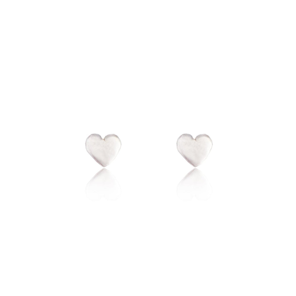 Tiny Heart Stud Earrings Silver
