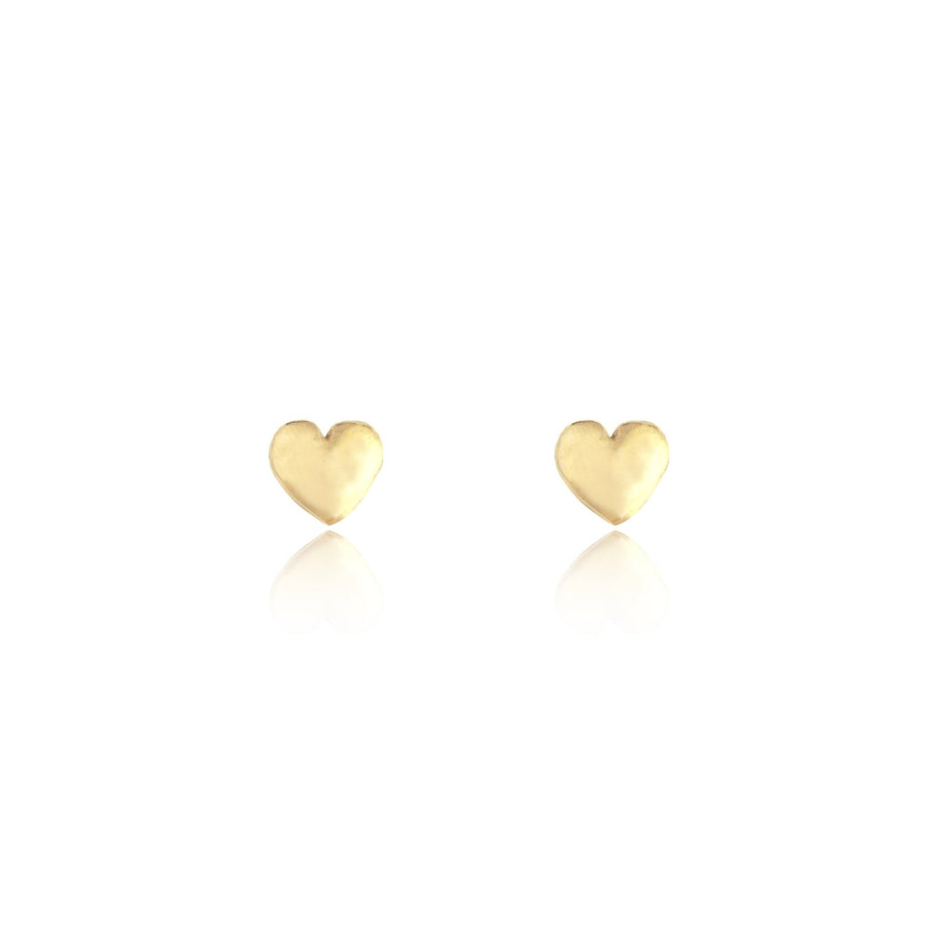 Tiny Heart Stud Earrings Gold