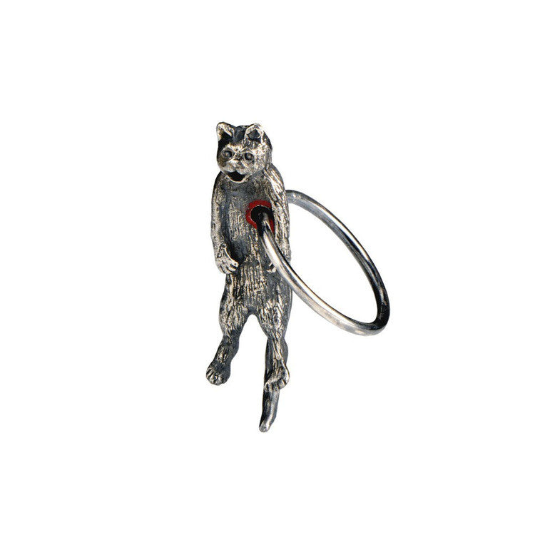 Hole in Heart Cat Ring Silver Product Shot