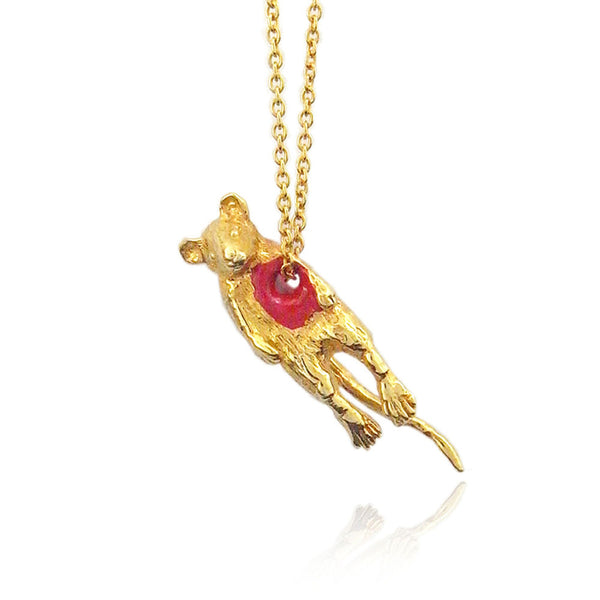 Hole in Heart Mouse Necklace Gold Product Shot