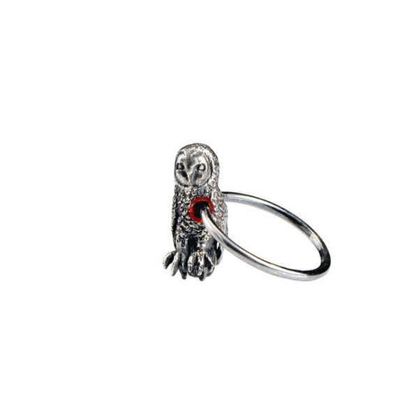 Hole in Heart Owl Ring Silver Product Shot