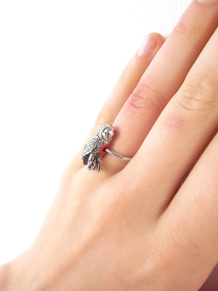 Hole in Heart Owl Ring Silver on Model