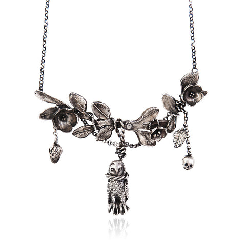 Hanging Owl with Twig Necklace Silver Product Shot Main