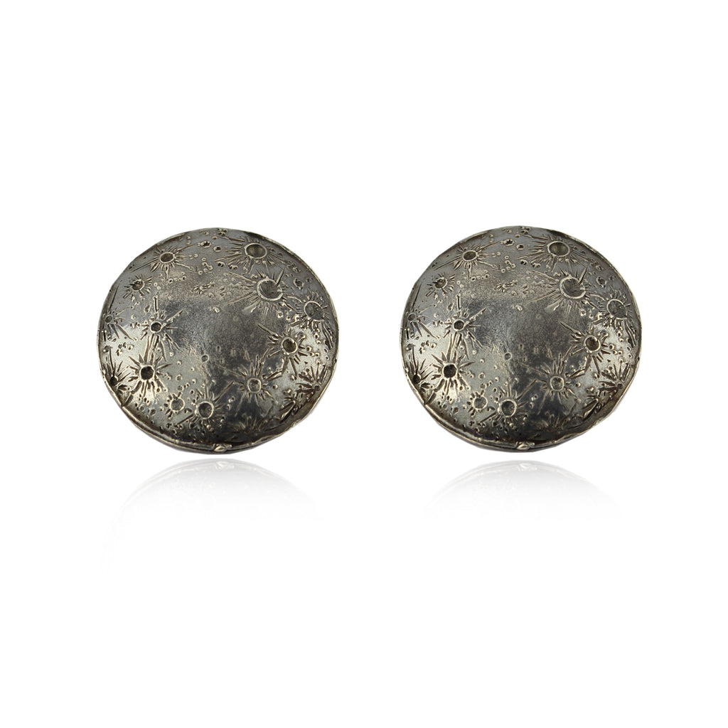Large moon disc clip earrings