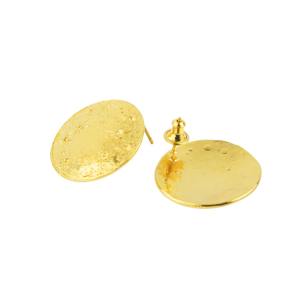 Large moon disc earrings gold