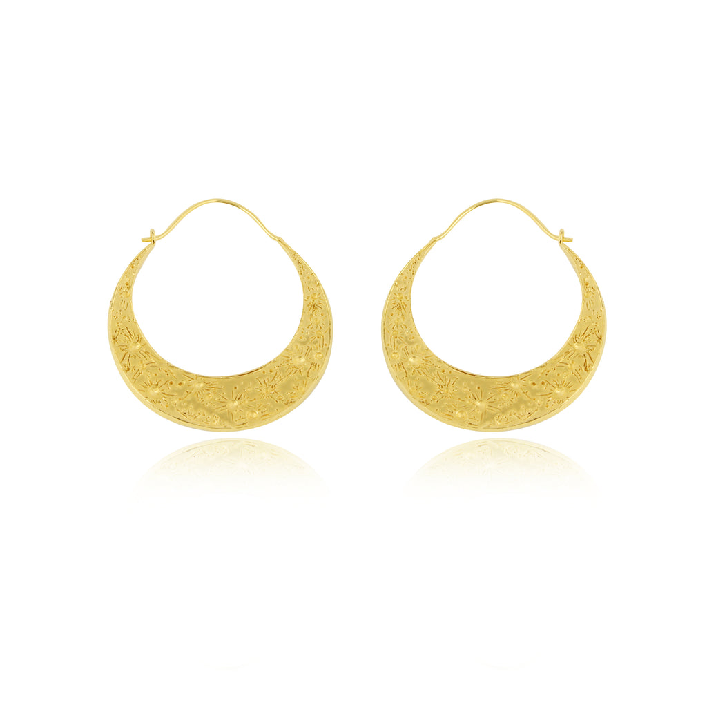 d7be7575a14b9 Large crescent moon hoop earrings gold