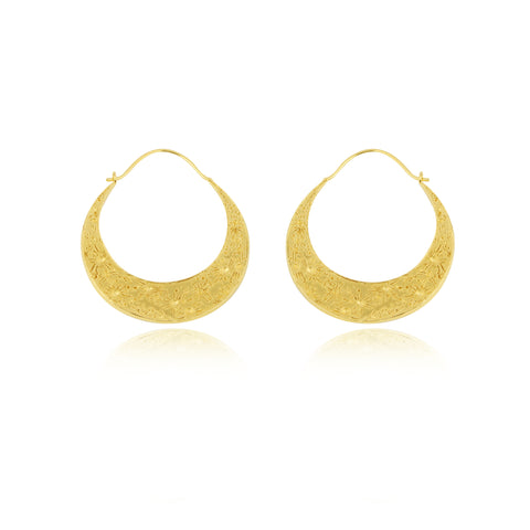 Large crescent moon hoop earrings gold