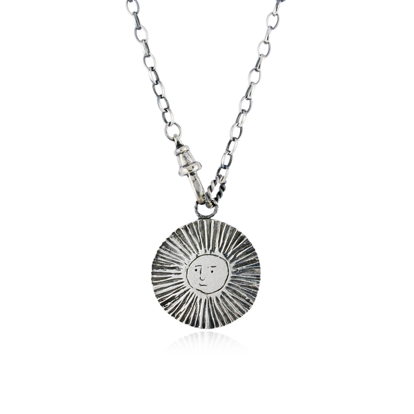 Large Sun / Moon Disc Lariat Reversible Necklace Silver