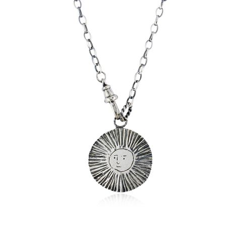 Large Sun / Moon Disc Lariat Necklace Silver