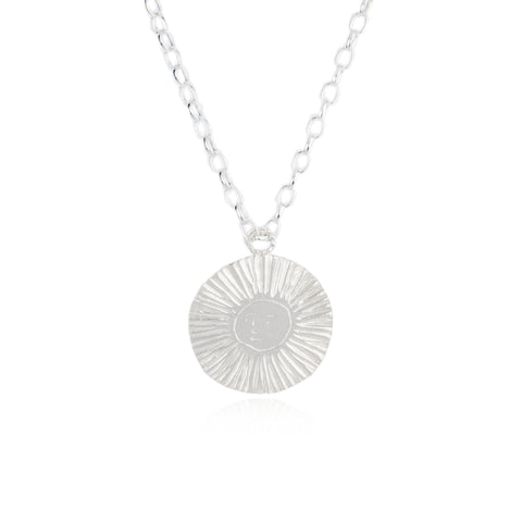 Large Sun & Moon Reversible Disc Necklace Silver