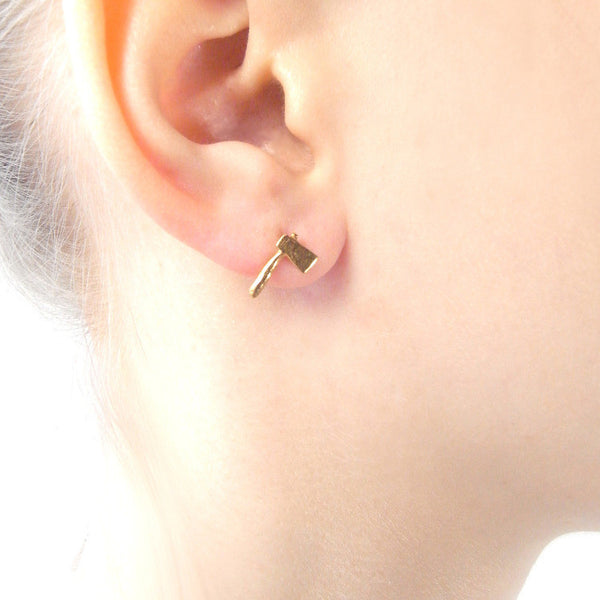 Tiny Axe Earrings Gold on Model