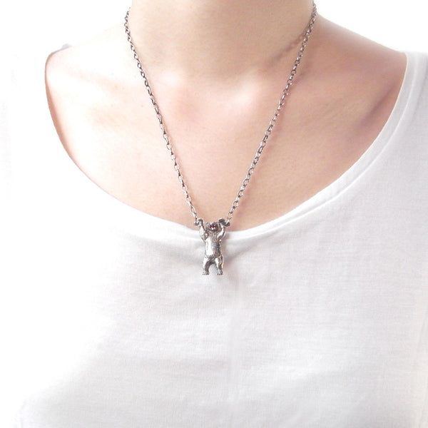 Handcuffed Bear Necklace Silver 48cm on Model
