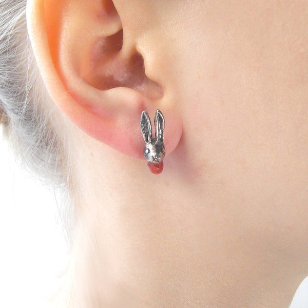 Head Off Rabbit and Axe Earrings Silver on Model