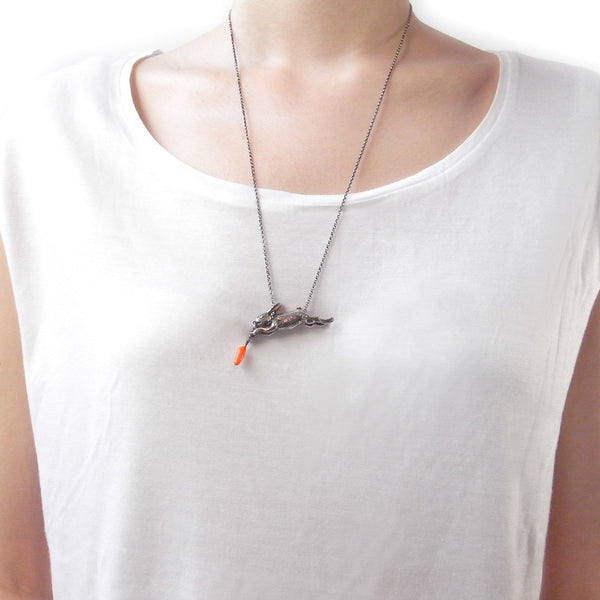 Rabbit and Carrot Necklace Silver Resin on Model