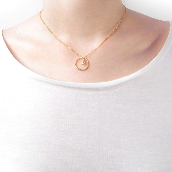 Round Snake Necklace Gold on Model