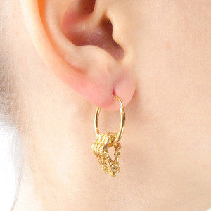 Skeleton Hands Hoop Earrings Gold on Model