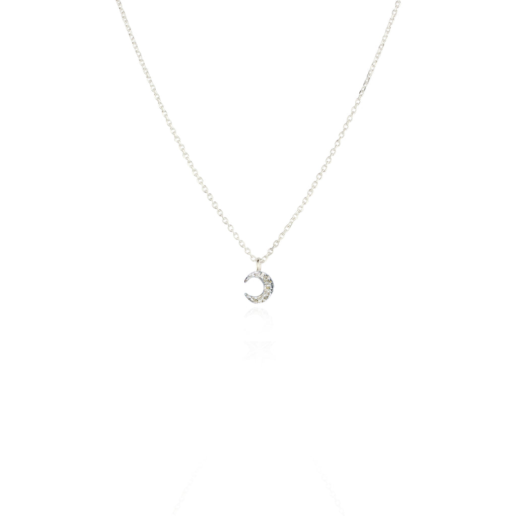 Micro crescent moon necklace silver