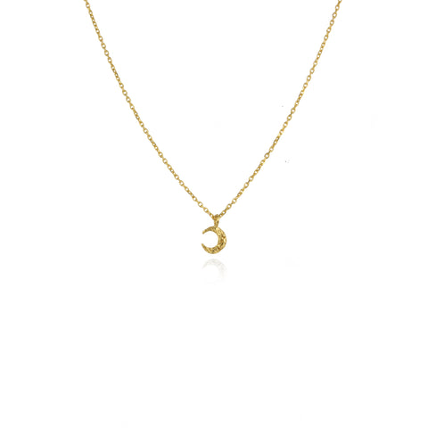 Micro crescent moon necklace gold