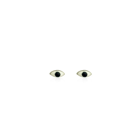 Micro enamel eye stud earrings