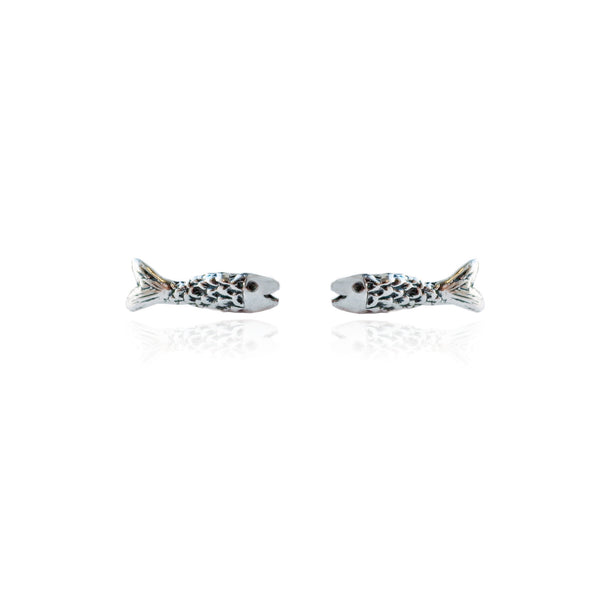 Micro Fish Earrings Silver