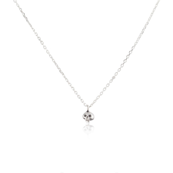 Micro Skull Necklace Silver