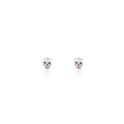 Mini Skull Stud Earrings Silver