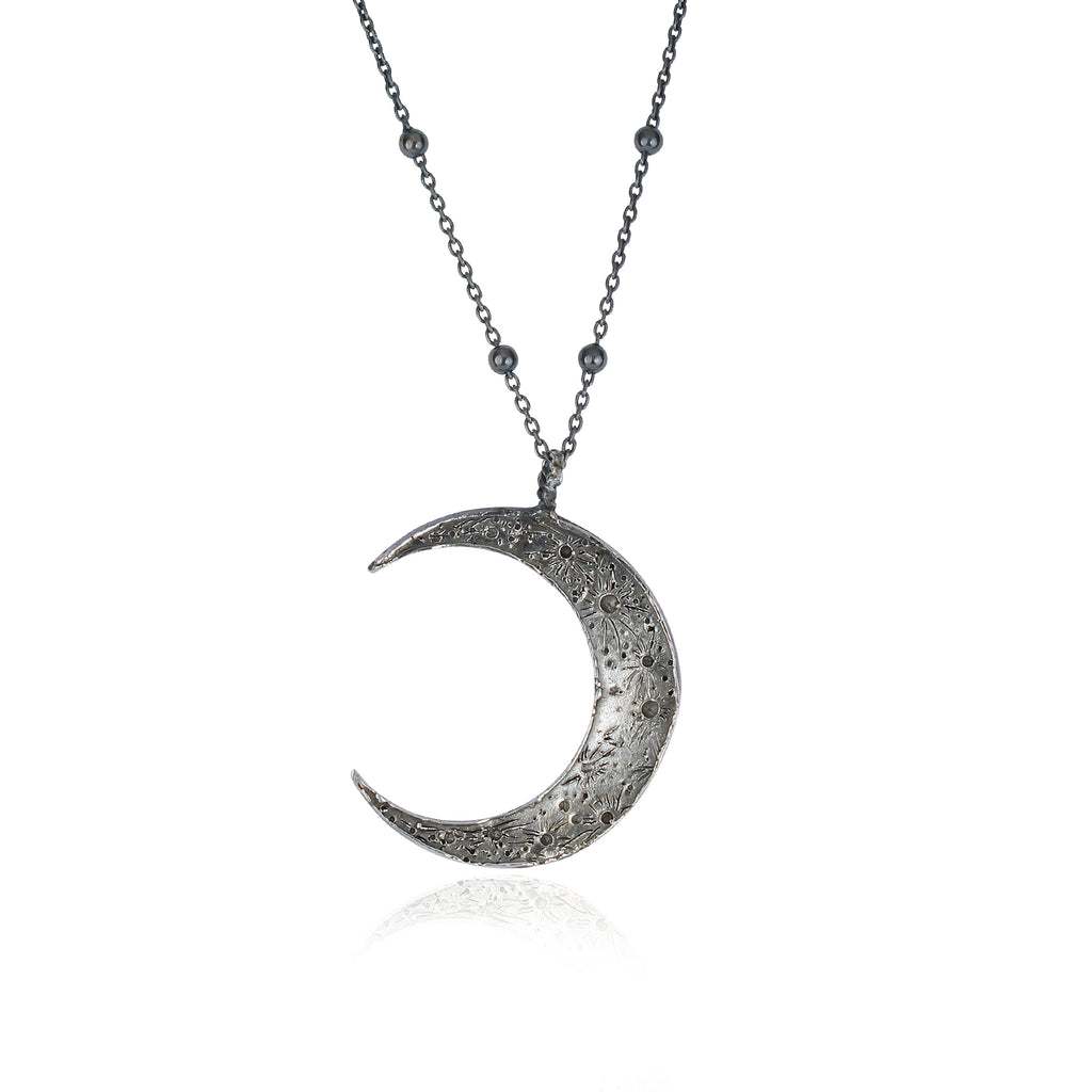 Large crescent moon necklace silver - ball chain
