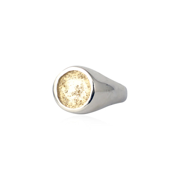 Moon signet ring silver x 9kt gold