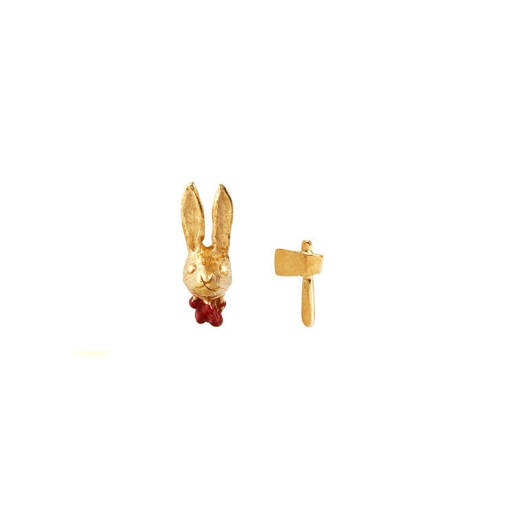 Head Off Rabbit and Axe Earrings Gold Product Shot Main